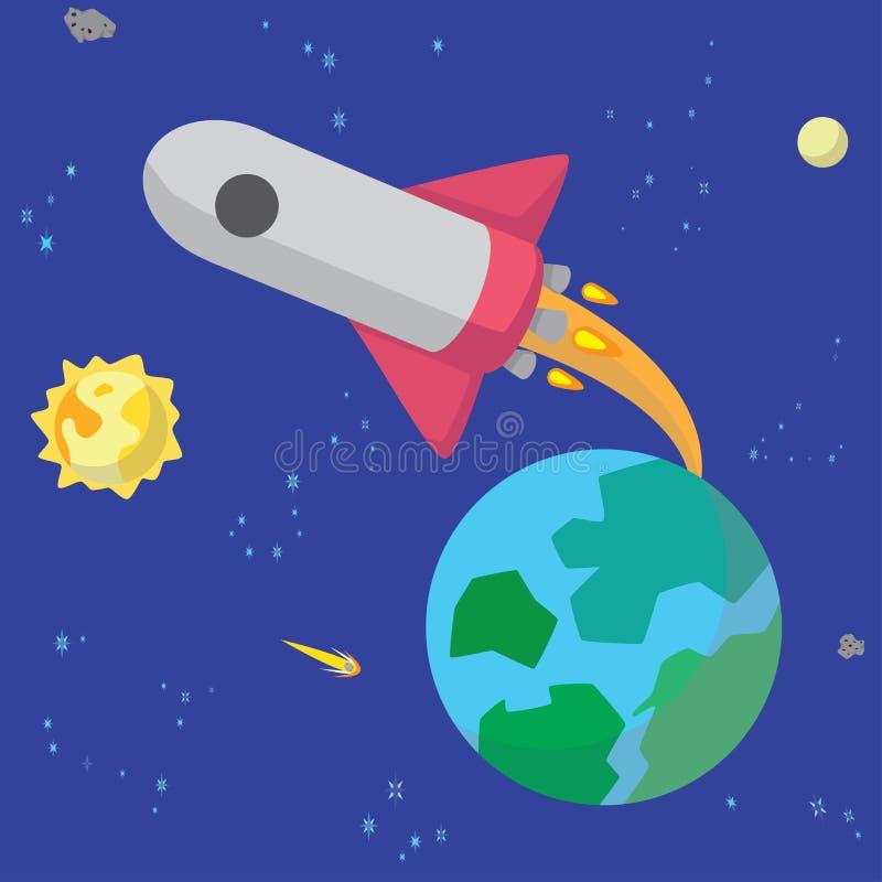 Terra do formulário do lançamento do foguete de espaço fotografia de stock