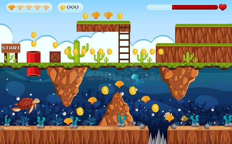 Terra do jogo da aventura e cena subaquática ilustração do vetor