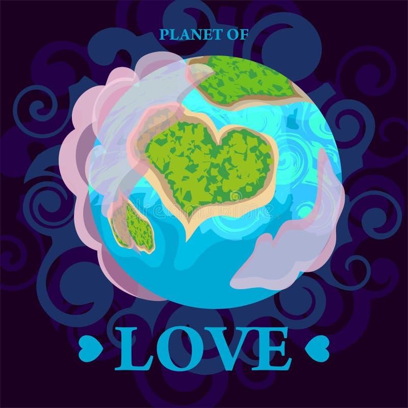 A terra do planeta é uma vista do espaço e a terra é sob a forma de um coração ilustração stock