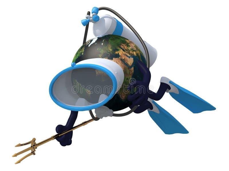 Terra do planeta com óculos de proteção e aletas do mergulho ilustração royalty free