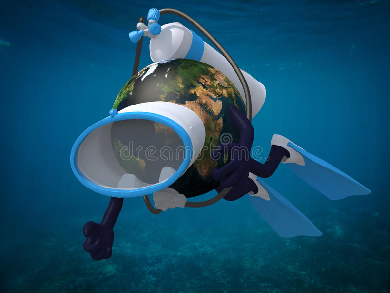 Terra do planeta com óculos de proteção e aletas do mergulho ilustração stock
