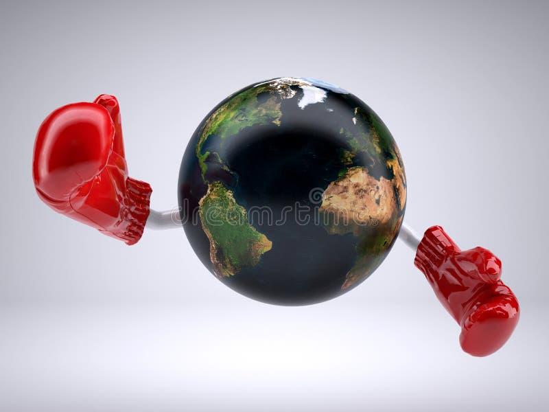 Terra do planeta com braços e luvas de encaixotamento ilustração royalty free
