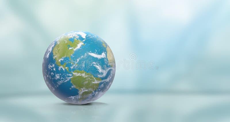 Terra do planeta com nuvens, America do Norte e Ámérica do Sul 3D-Ill ilustração stock