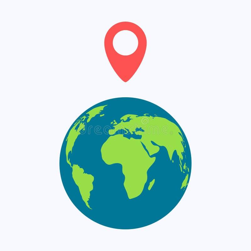 Terra do planeta com o pino vermelho do mapa ilustração royalty free