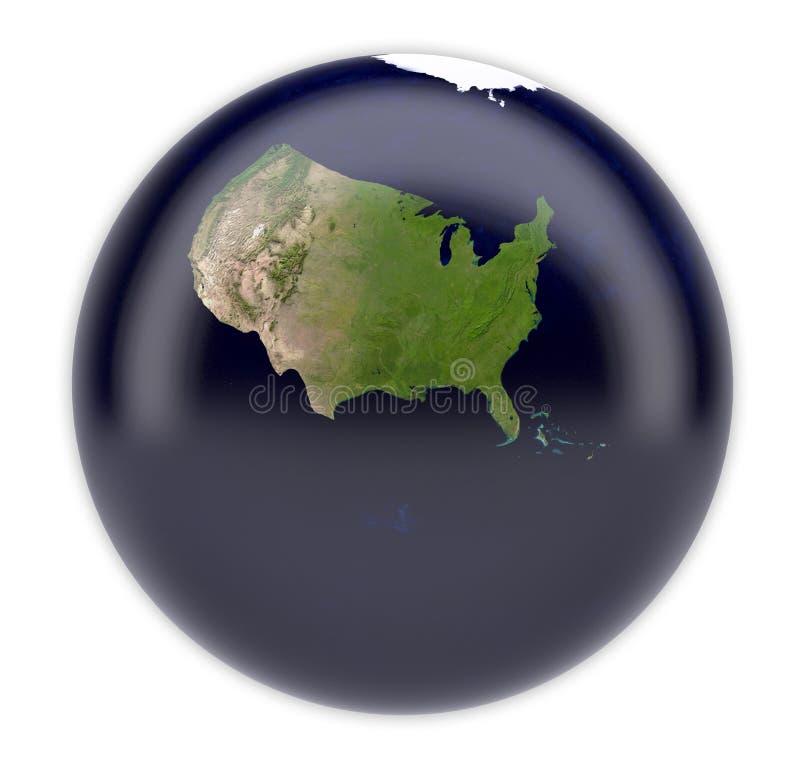 Terra do planeta com somente o Estados Unidos da América ilustração royalty free