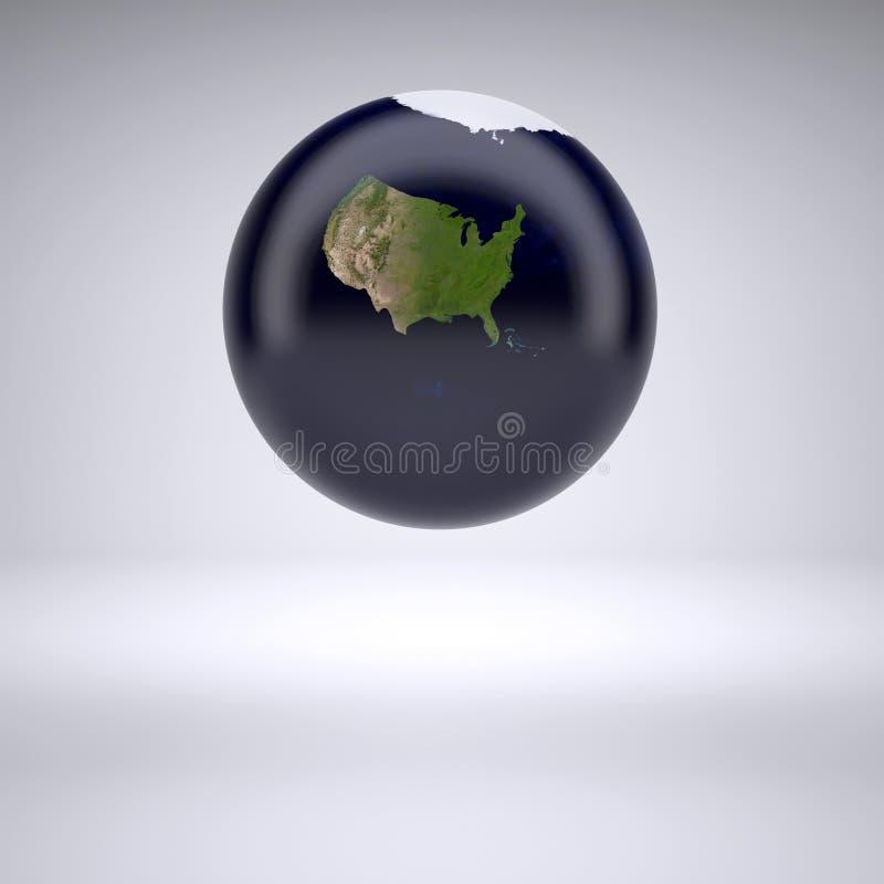 Terra do planeta com somente o Estados Unidos da América ilustração stock