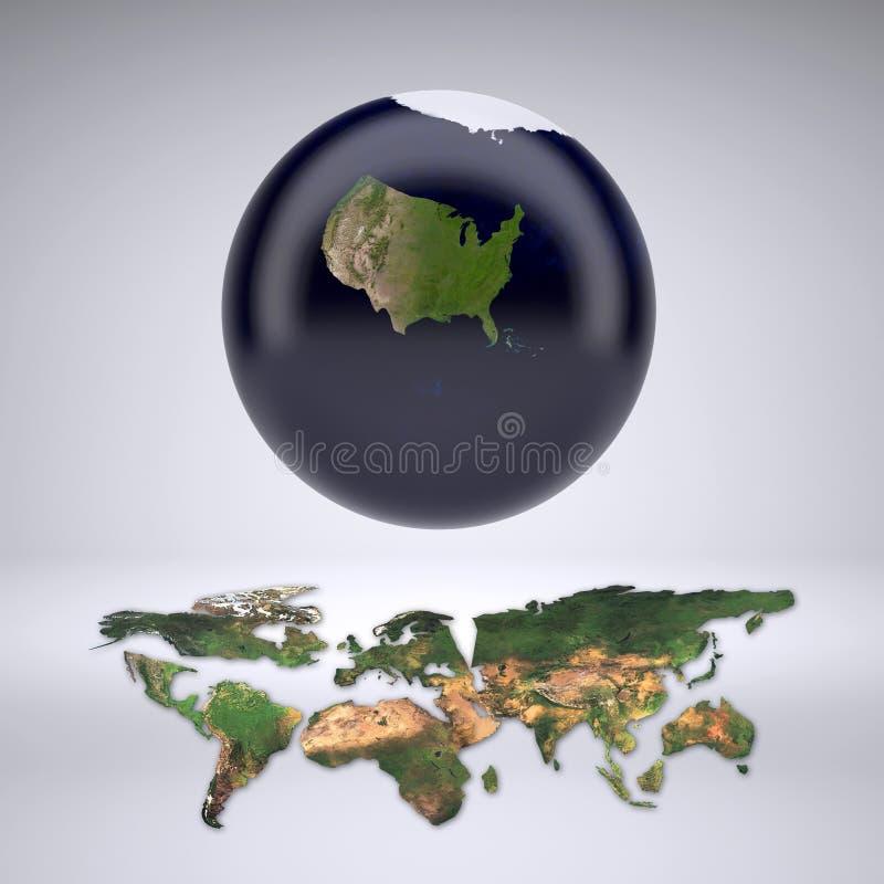 Terra do planeta com somente o Estados Unidos da América ilustração do vetor