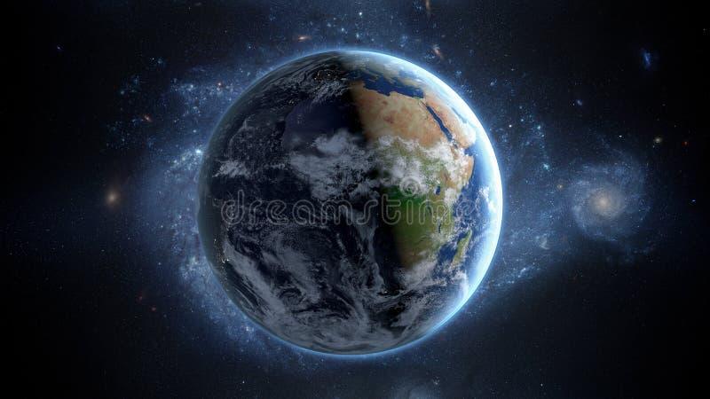 Terra do planeta como visto do espaço Com fundo das estrelas rendição 3d foto de stock