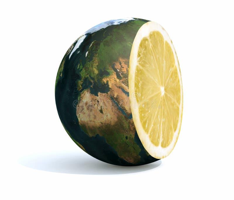 Terra do planeta cortada com um limão para dentro ilustração do vetor