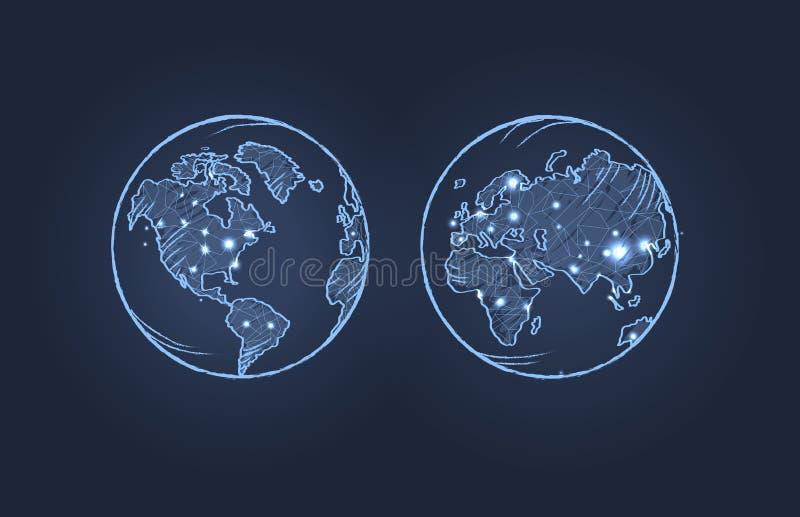 Terra do planeta da ilustração do vetor de dois lados ilustração royalty free