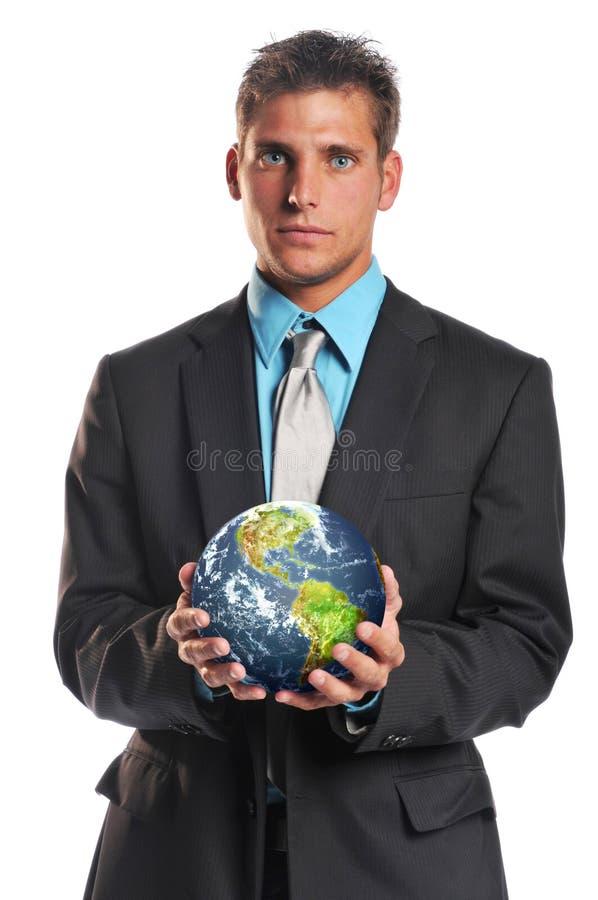 Terra do planeta da terra arrendada do homem de negócios fotografia de stock royalty free
