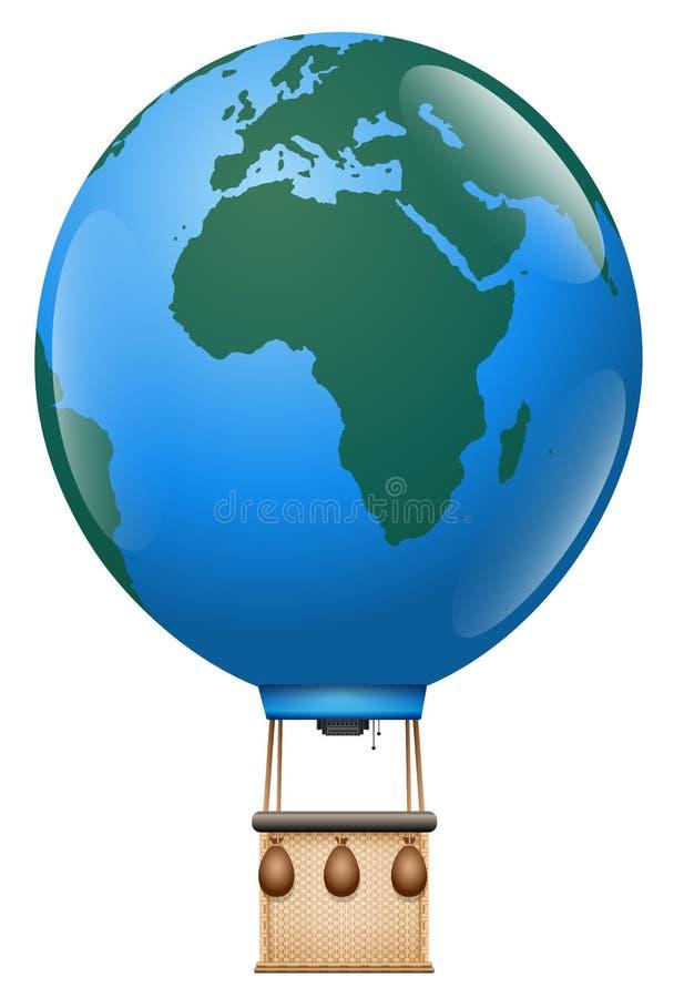 Terra do planeta da viagem do balão de ar quente de Europa África ilustração royalty free