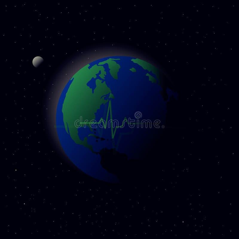 Terra do planeta do cardiograma ilustração do vetor