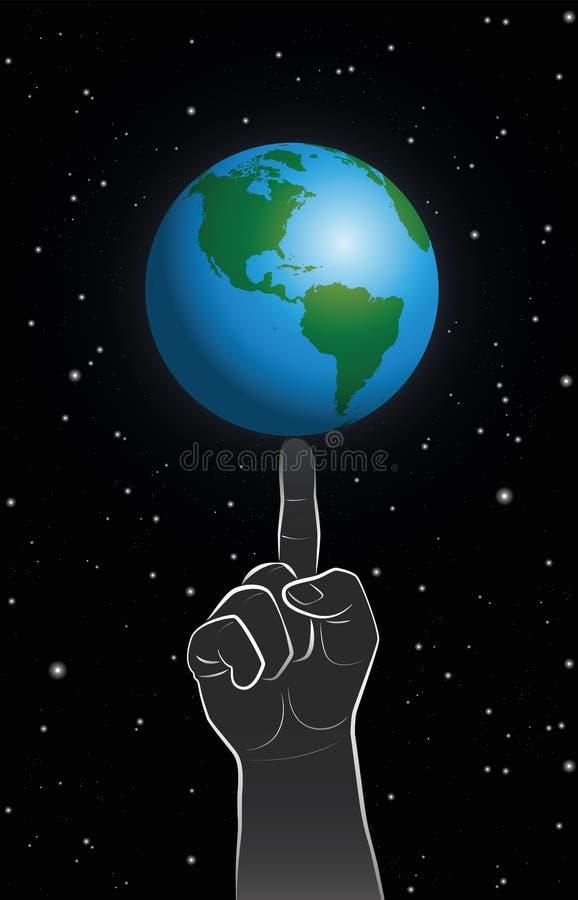 Terra do planeta do dedo do poder do deus ilustração do vetor