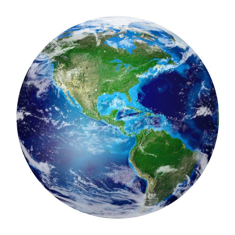 Terra do planeta do espaço que mostra o norte e a Ámérica do Sul, EUA, ilustração do vetor