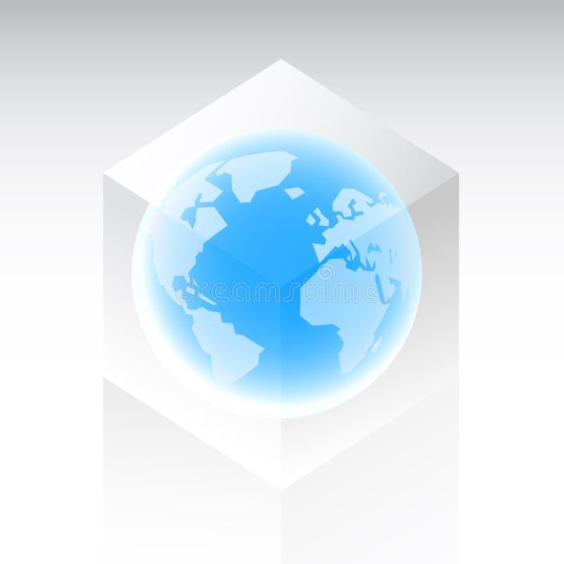 Terra do planeta em um cubo de vidro ilustração royalty free