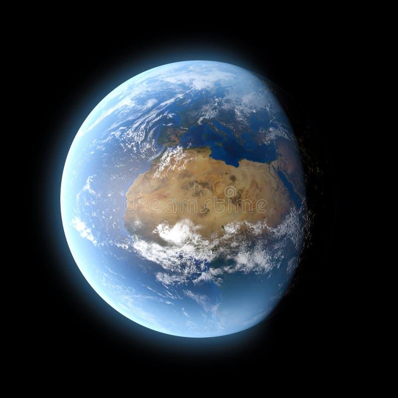Terra do planeta isolada no fundo preto ilustração do vetor