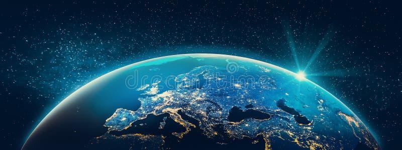 Terra do planeta - luzes da cidade de Europa foto de stock