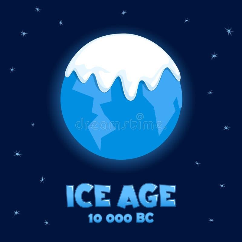 Terra do planeta na idade do gelo ilustração royalty free