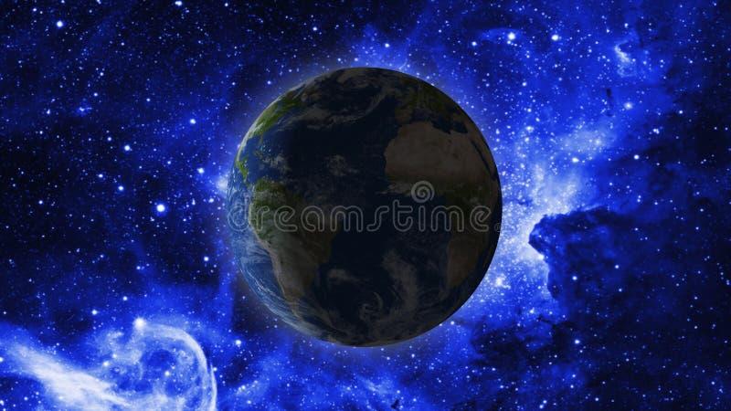 Terra do planeta na perspectiva das nebulosa e das estrelas fotografia de stock royalty free