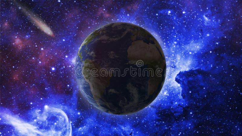 Terra do planeta na perspectiva das nebulosa e das estrelas fotos de stock royalty free