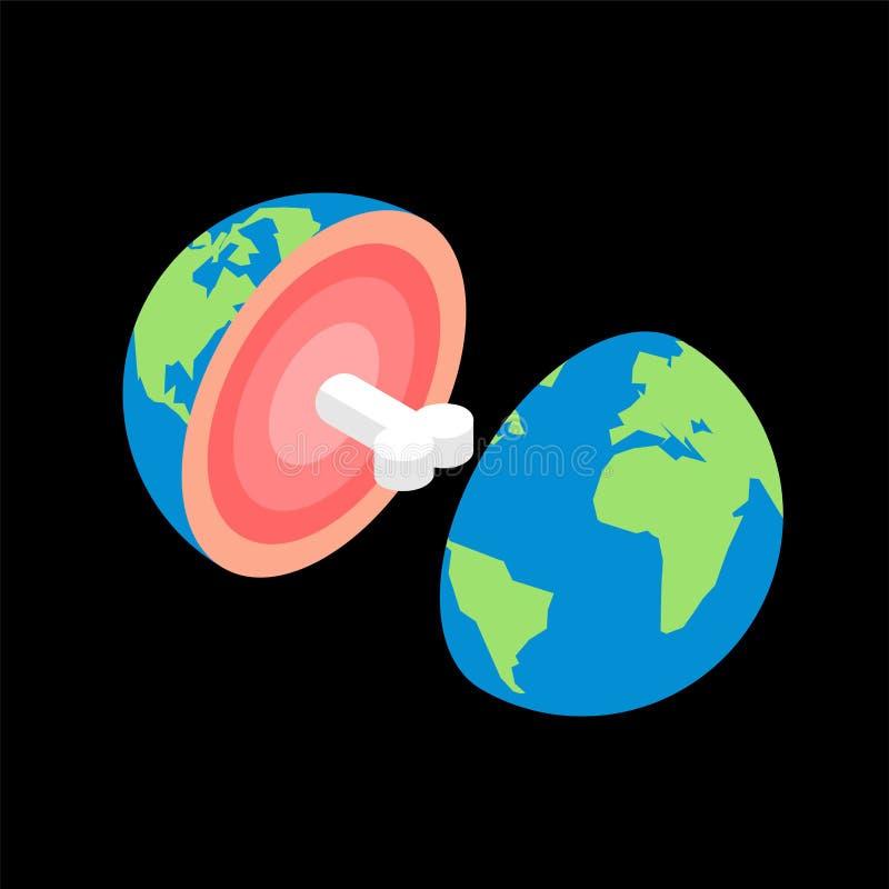 Terra do planeta no corte com osso estrutura do planeta ilustração do vetor