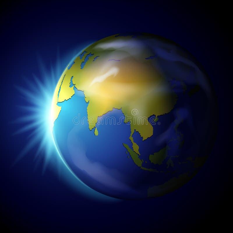 Terra do planeta no fundo azul ilustração stock