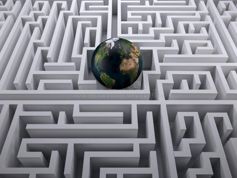 Terra do planeta no labirinto do labirinto ilustração royalty free