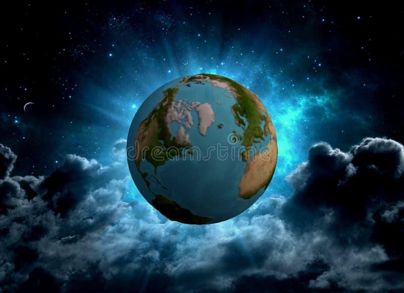 Terra do planeta no universo no formato 3d ilustração do vetor