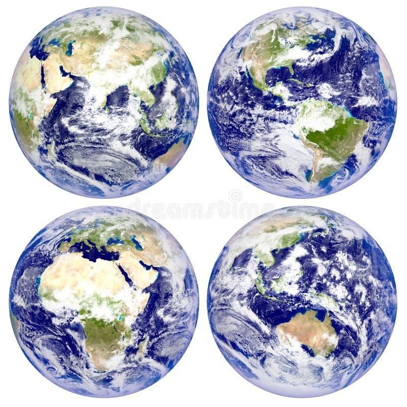 Terra do planeta, norte e Ámérica do Sul, Eurasia, África, Austrália ilustração stock