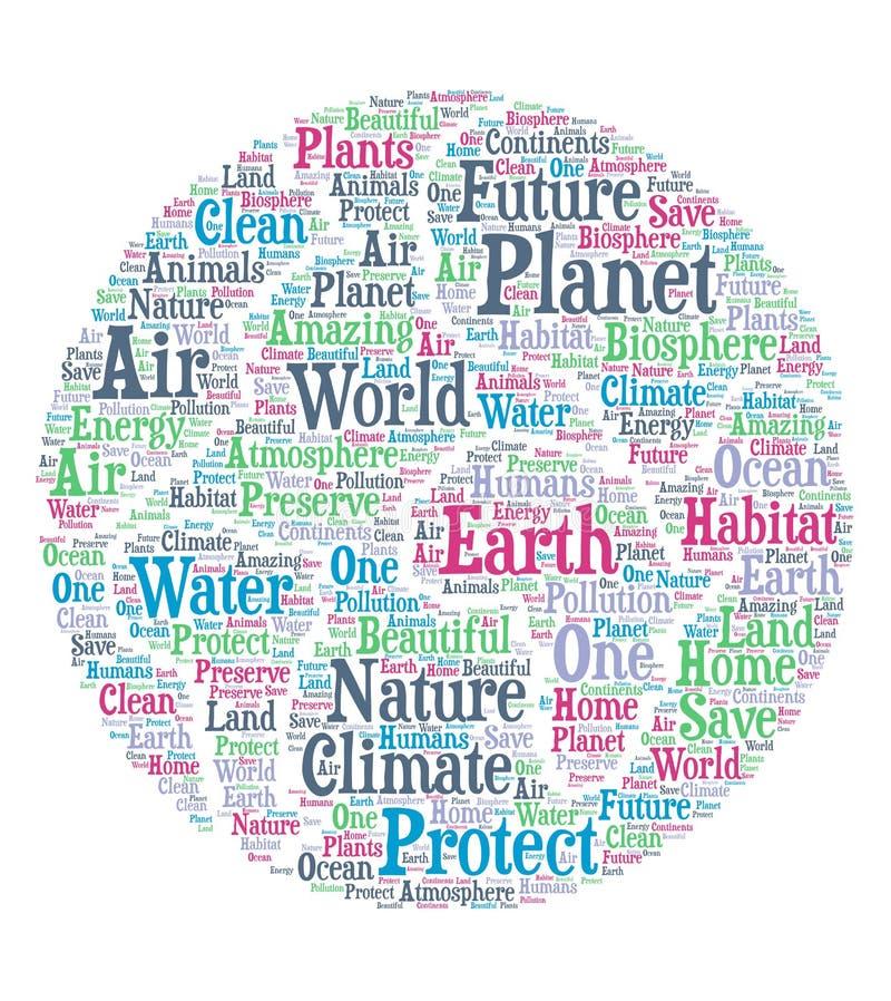 Terra do planeta - nuvem da palavra ilustração stock