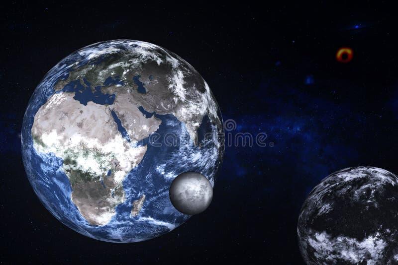 Terra do planeta perto de planeta escuro desconhecido com lua em algum lugar no espaço ilustração do vetor