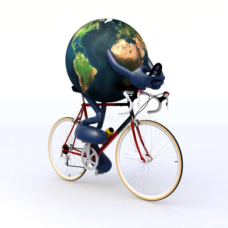 Terra do planeta que monta uma bicicleta de competência ilustração stock