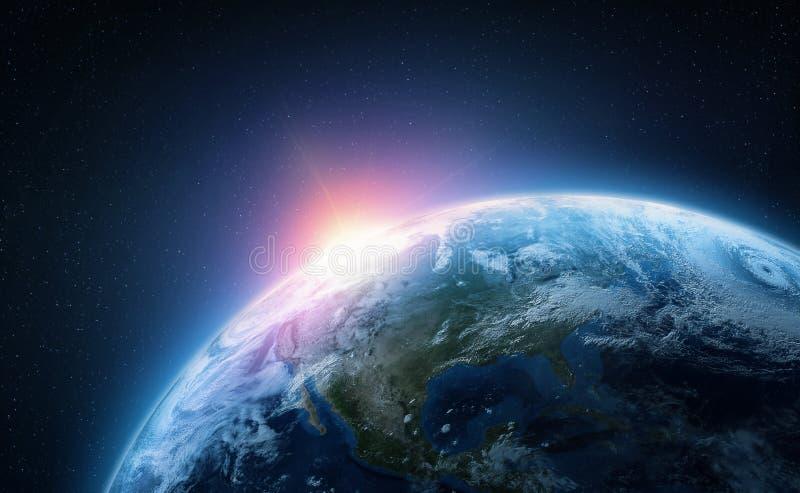 Terra do planeta Vista da ?rbita do espa?o Ilustra??o Photorealistic foto de stock royalty free