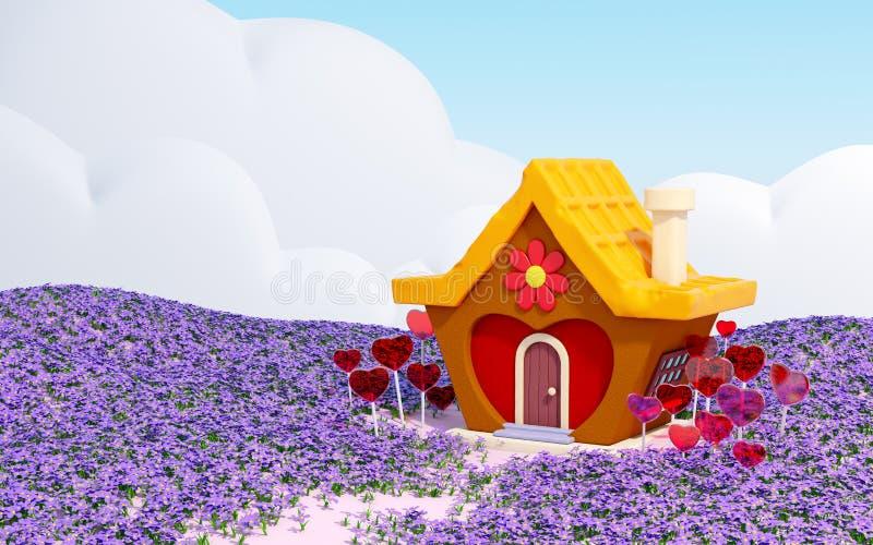 Terra dos doces com casa do coração ilustração stock