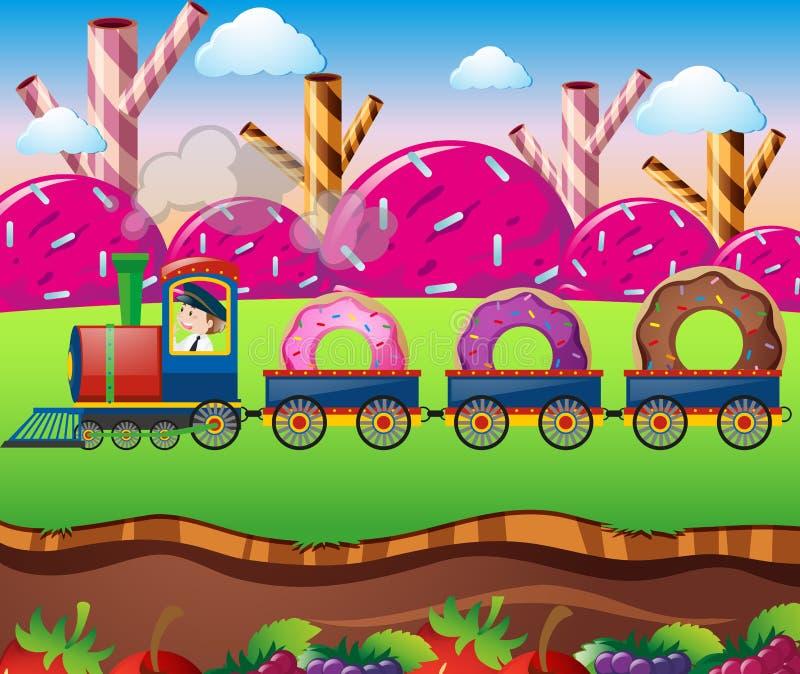 Terra dos doces com passeio do trem com anéis de espuma ilustração do vetor