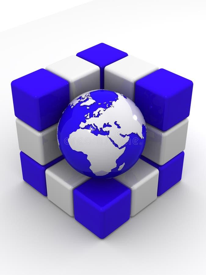 Terra e caixas ilustração stock