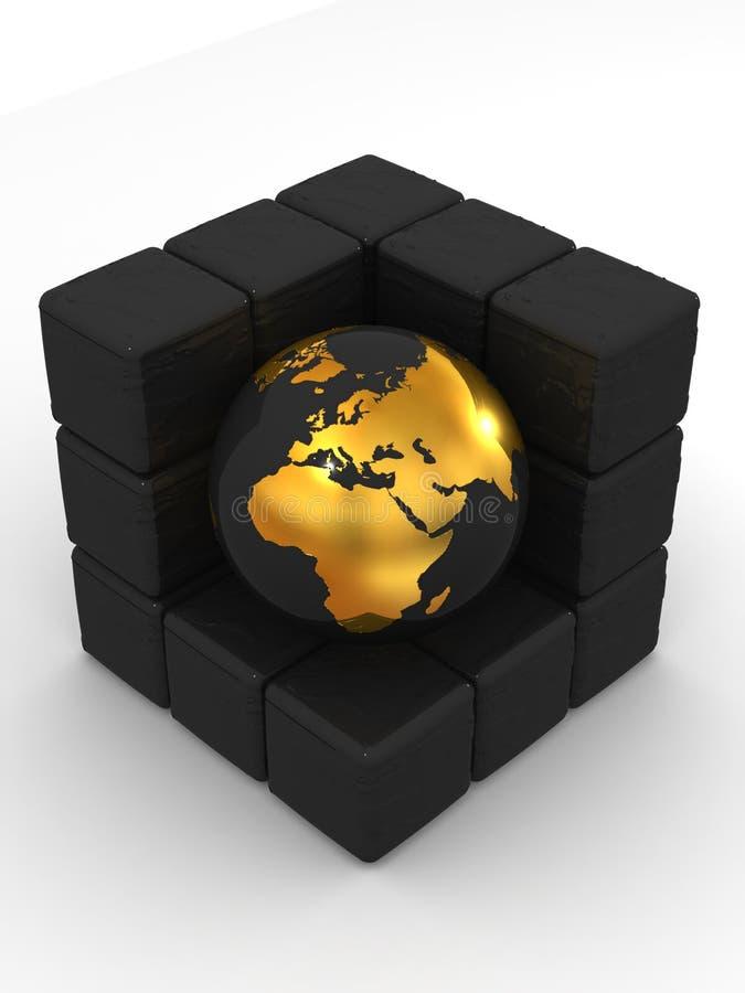 Terra e caixas ilustração royalty free