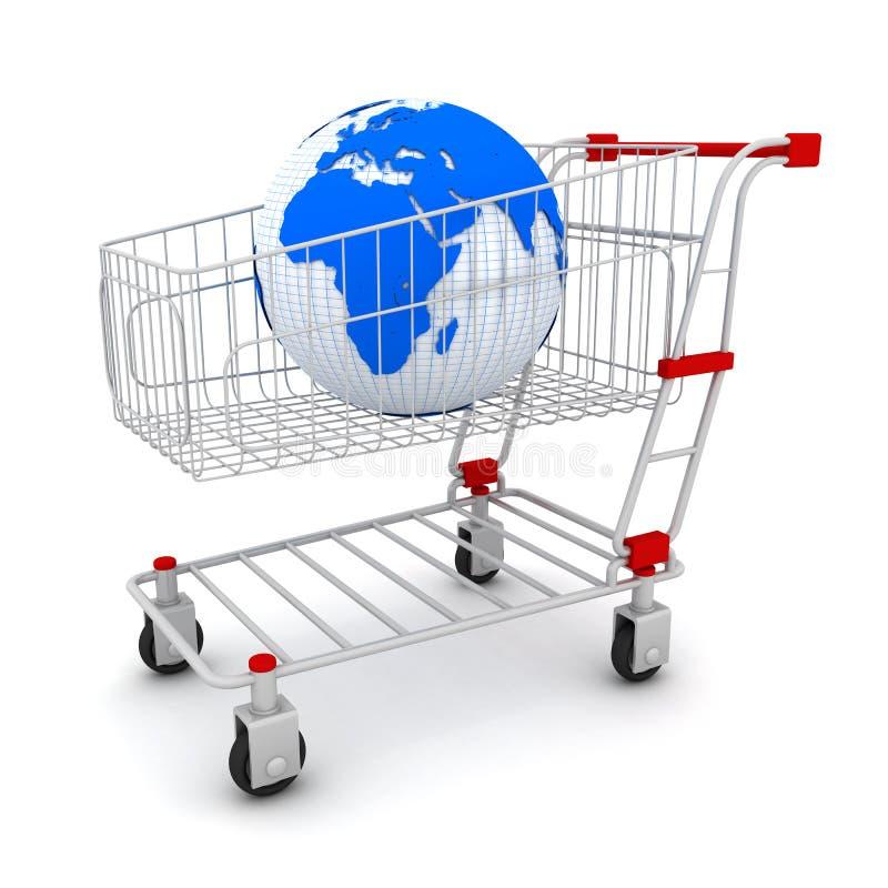 Terra e carro de compra ilustração do vetor