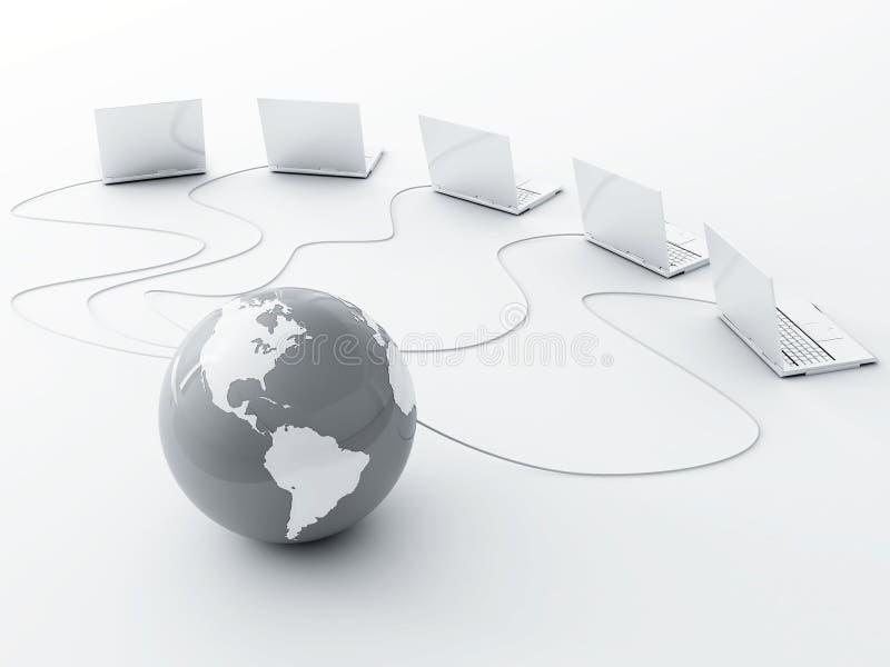 Terra e computer portatili illustrazione vettoriale
