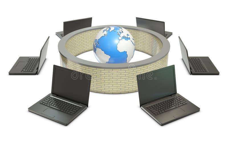 Terra e computer portatili con la parete refrattaria astratta illustrazione vettoriale