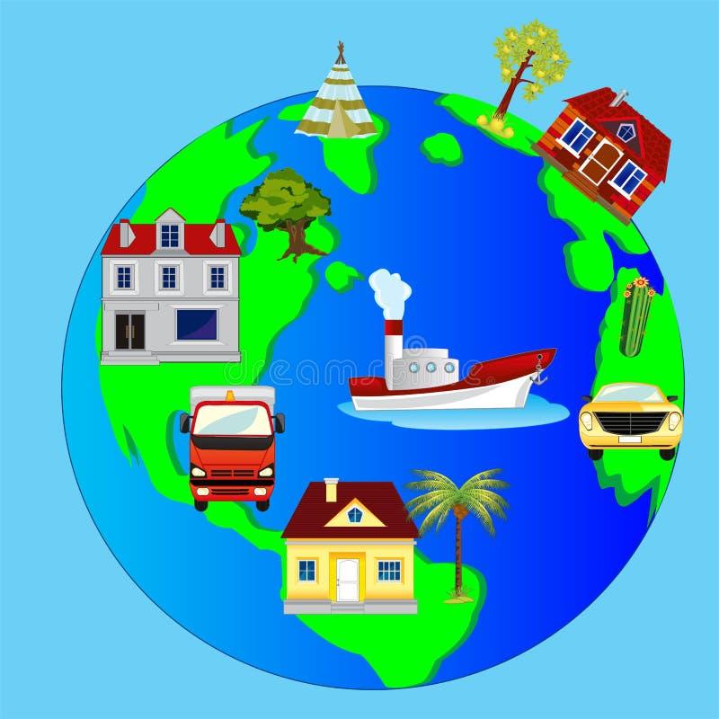 Terra e construção do planeta ilustração stock