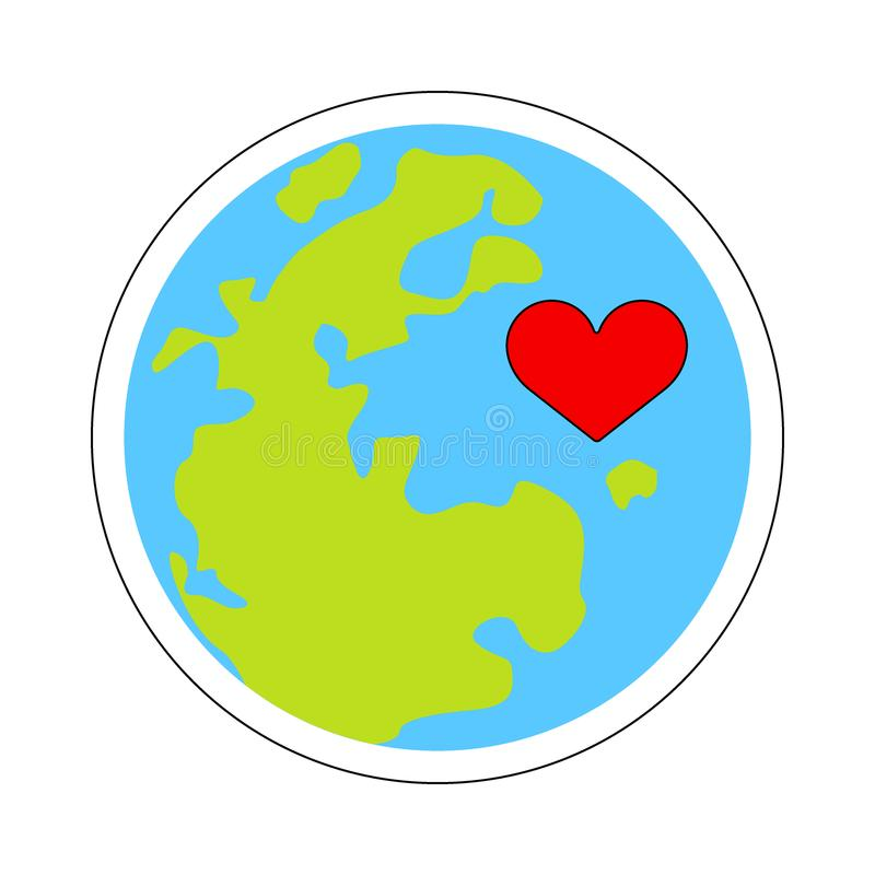 Terra e coração ilustração stock