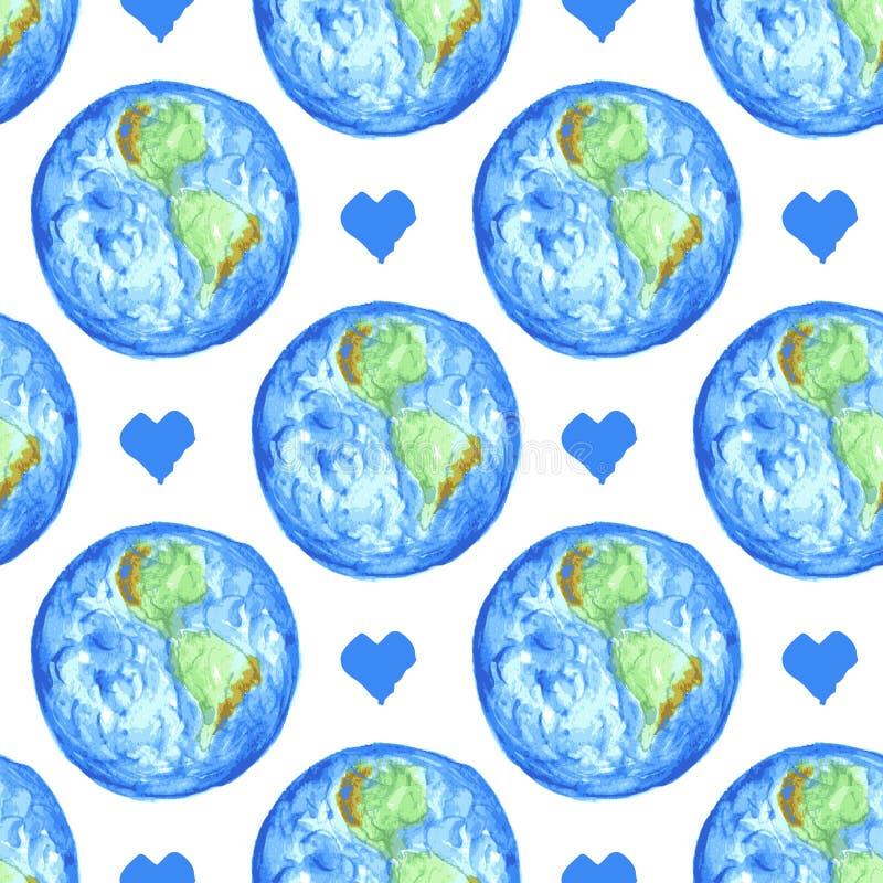 Terra e coração do esboço no estilo do vintage ilustração do vetor