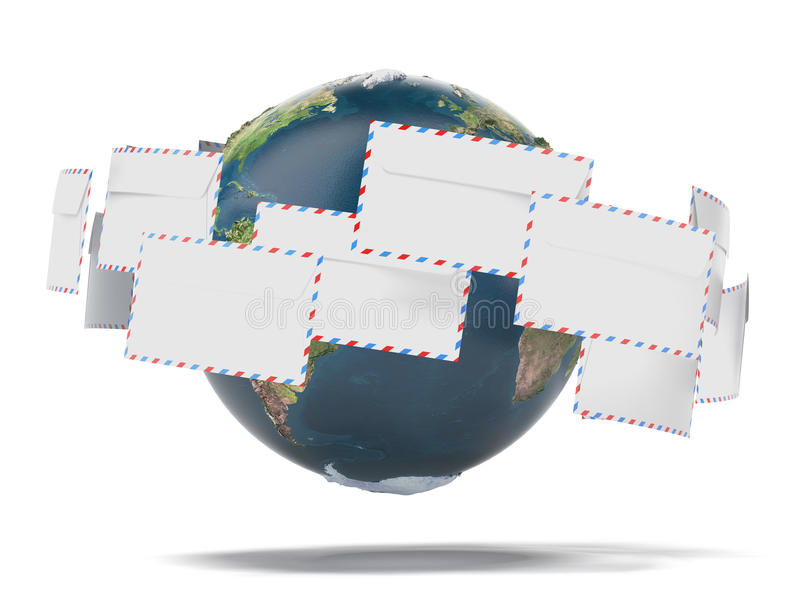 Terra e envelopes (mapa da terra fornecido pela NASA) ilustração royalty free