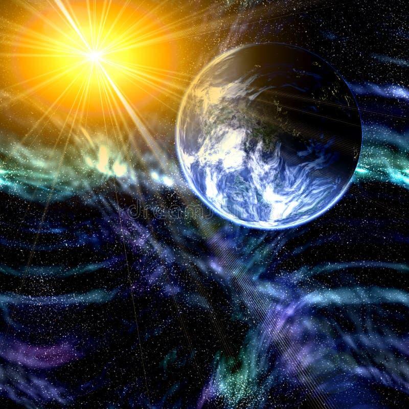 Terra e espaço do planeta ilustração royalty free
