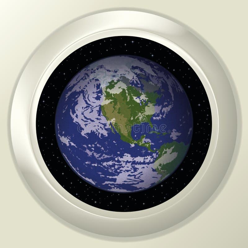 Terra e espaço na janela ilustração do vetor