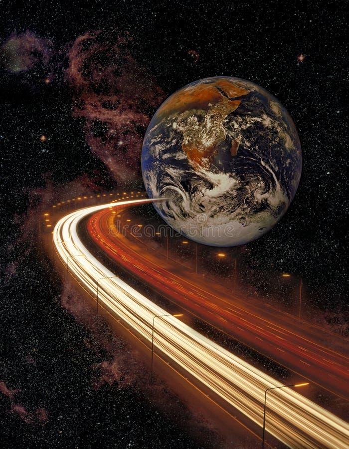 Terra e estrada do planeta no espaço fotos de stock royalty free