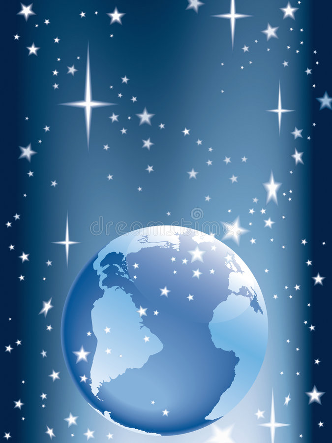 Terra e estrelas ilustração stock
