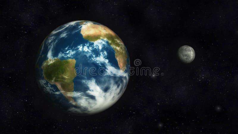 Terra e lua ilustração stock